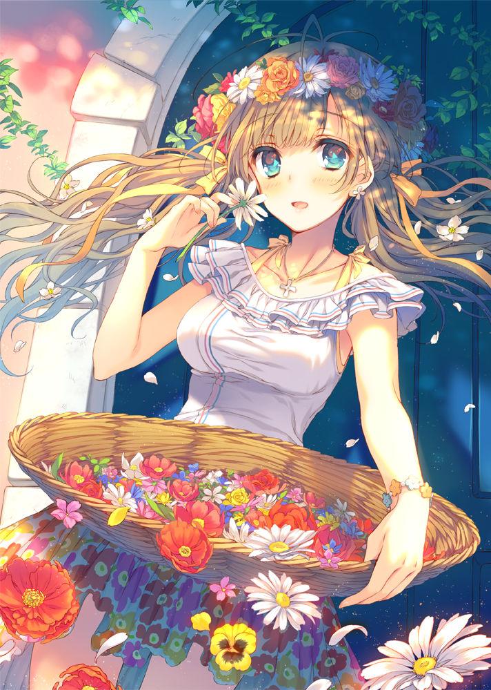 [精选] 用花朵装饰头发的少女特辑
